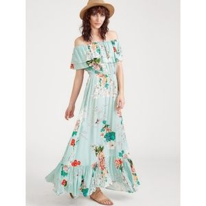 Ruffled Bardot Floral Maxi Dress by 🏵
